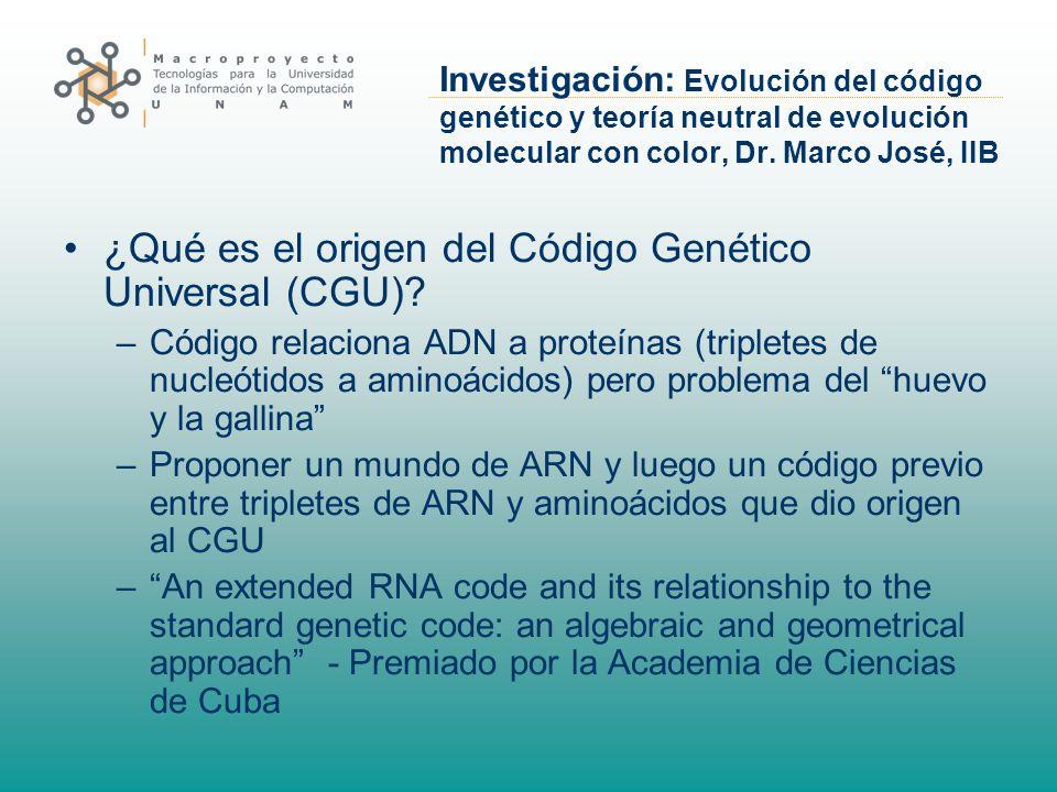 Investigación: Evolución del código genético y teoría neutral de evolución molecular con color, Dr. Marco José, IIB ¿Qué es el origen del Código Genét