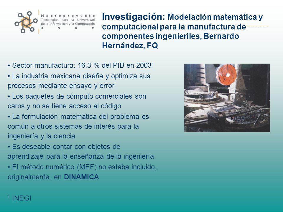 Investigación: Modelación matemática y computacional para la manufactura de componentes ingenieriles, Bernardo Hernández, FQ Sector manufactura: 16.3