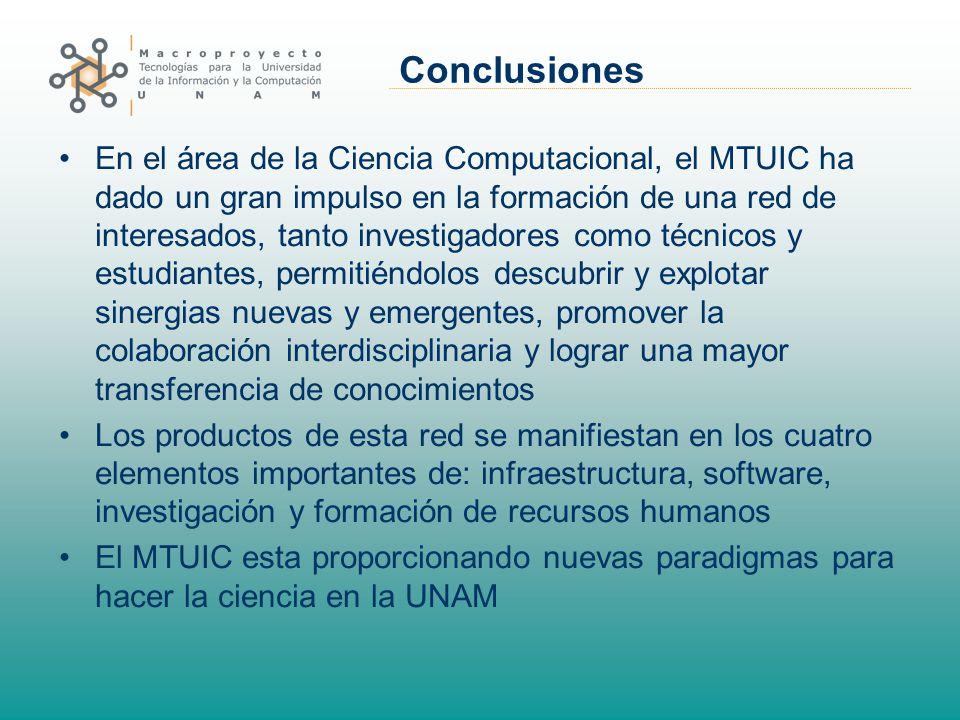 Conclusiones En el área de la Ciencia Computacional, el MTUIC ha dado un gran impulso en la formación de una red de interesados, tanto investigadores
