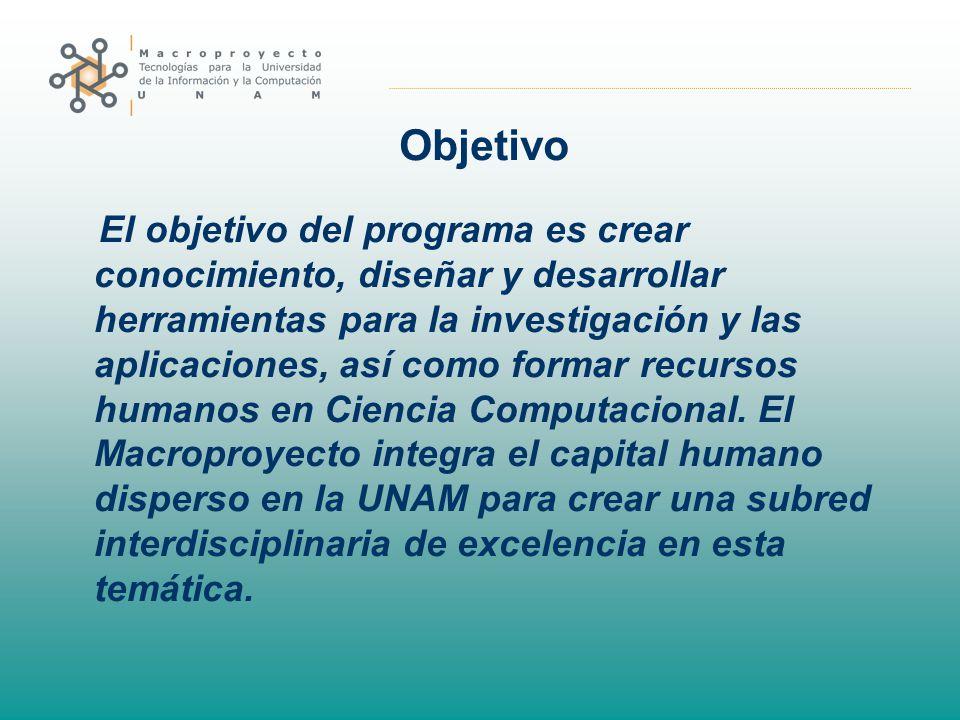 Objetivo El objetivo del programa es crear conocimiento, diseñar y desarrollar herramientas para la investigación y las aplicaciones, así como formar