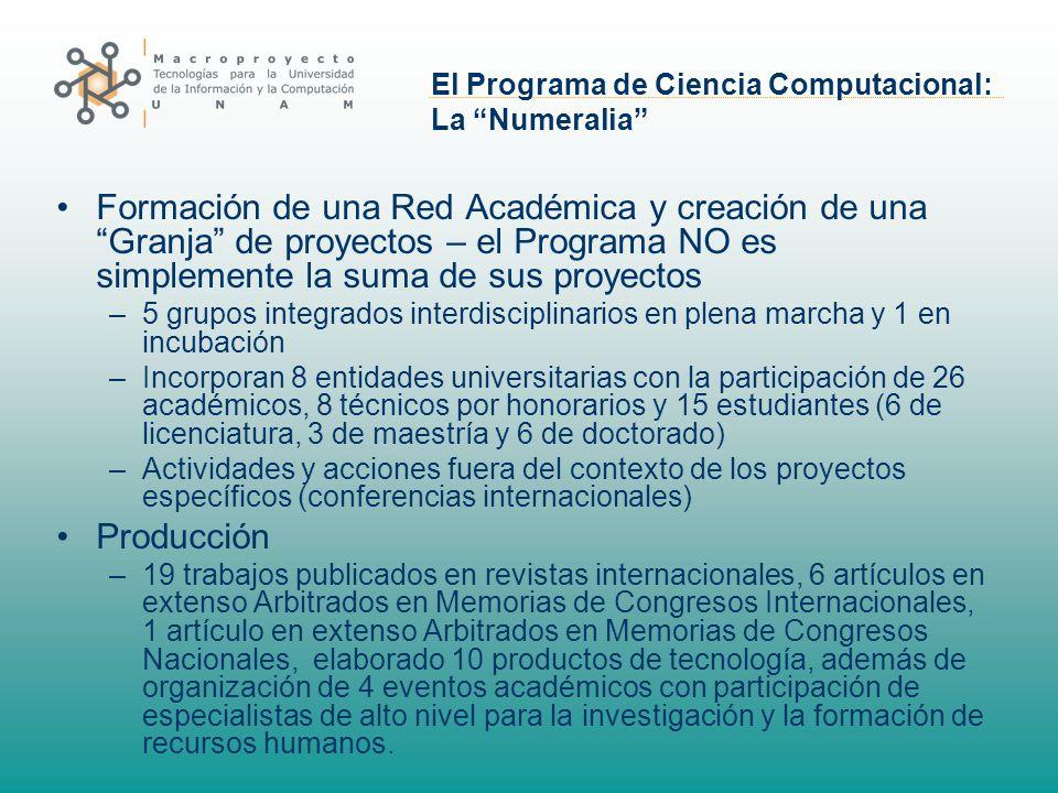 El Programa de Ciencia Computacional: La Numeralia Formación de una Red Académica y creación de una Granja de proyectos – el Programa NO es simplement
