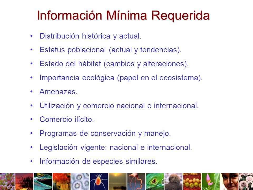 Información Mínima Requerida Distribución histórica y actual.