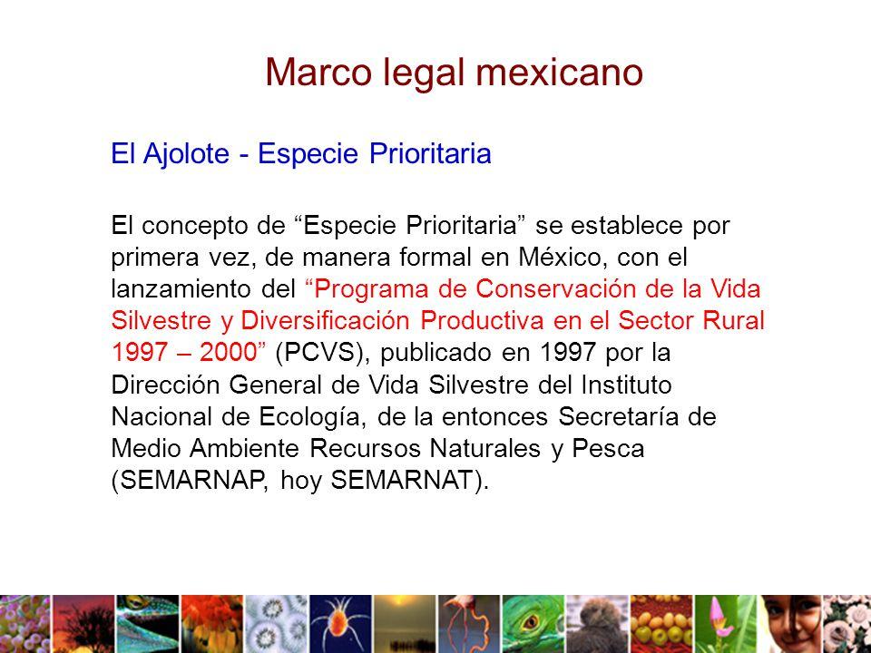 El concepto de Especie Prioritaria se establece por primera vez, de manera formal en México, con el lanzamiento del Programa de Conservación de la Vida Silvestre y Diversificación Productiva en el Sector Rural 1997 – 2000 (PCVS), publicado en 1997 por la Dirección General de Vida Silvestre del Instituto Nacional de Ecología, de la entonces Secretaría de Medio Ambiente Recursos Naturales y Pesca (SEMARNAP, hoy SEMARNAT).