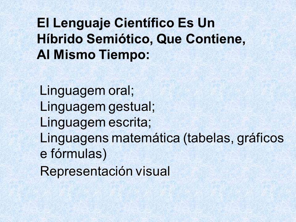 El Lenguaje Científico Es Un Híbrido Semiótico, Que Contiene, Al Mismo Tiempo: Linguagem oral; Linguagem gestual; Linguagem escrita; Linguagens matemática (tabelas, gráficos e fórmulas) Representación visual
