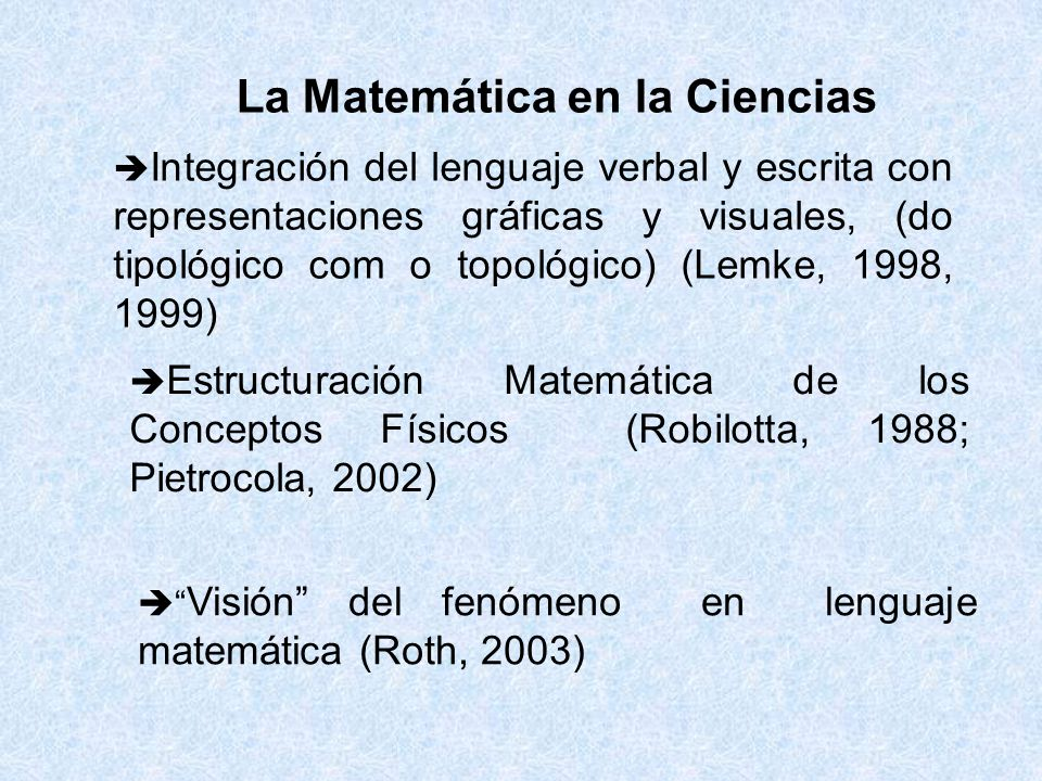 La Matemática en la Ciencias Integración del lenguaje verbal y escrita con representaciones gráficas y visuales, (do tipológico com o topológico) (Lemke, 1998, 1999) Estructuración Matemática de los Conceptos Físicos (Robilotta, 1988; Pietrocola, 2002) Visión del fenómeno en lenguaje matemática (Roth, 2003)