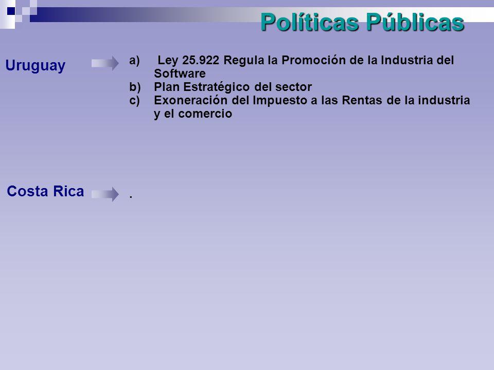 Políticas Públicas Uruguay Costa Rica a) Ley 25.922 Regula la Promoción de la Industria del Software b)Plan Estratégico del sector c)Exoneración del Impuesto a las Rentas de la industria y el comercio.