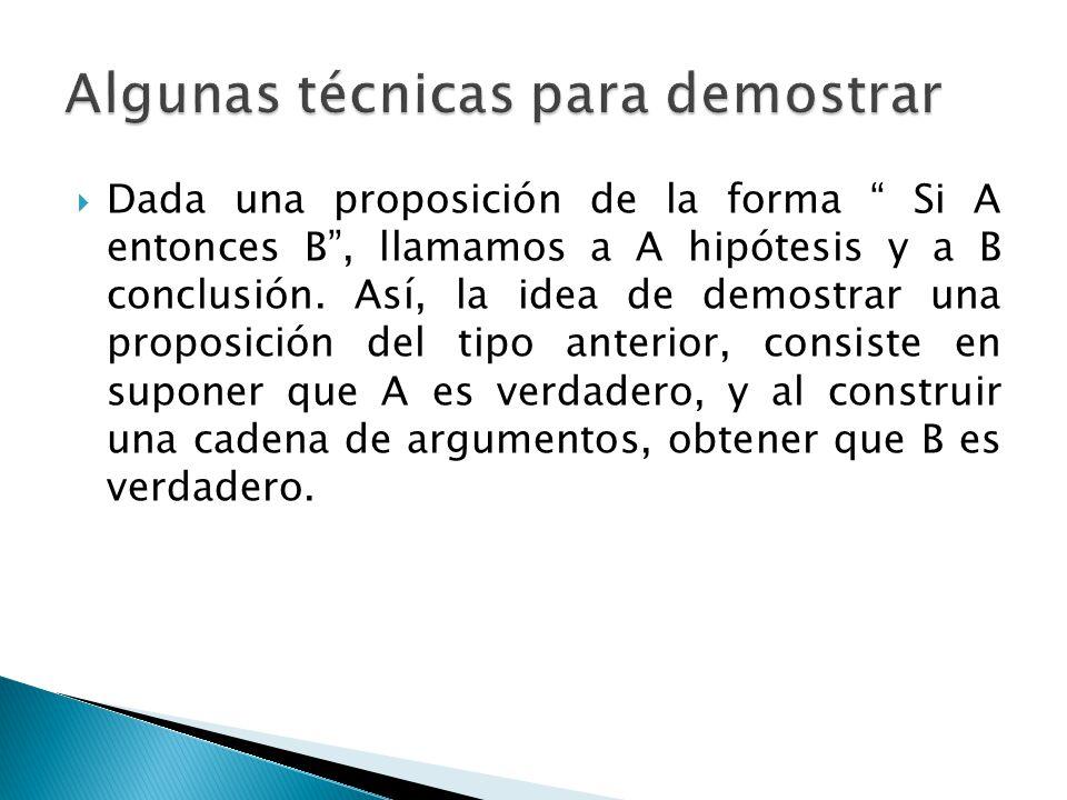 Dada una proposición de la forma Si A entonces B, llamamos a A hipótesis y a B conclusión. Así, la idea de demostrar una proposición del tipo anterior