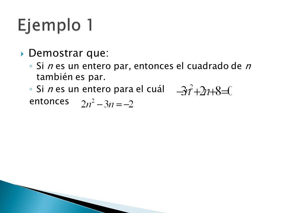 Demostrar que: Si n es un entero par, entonces el cuadrado de n también es par. Si n es un entero para el cuál entonces