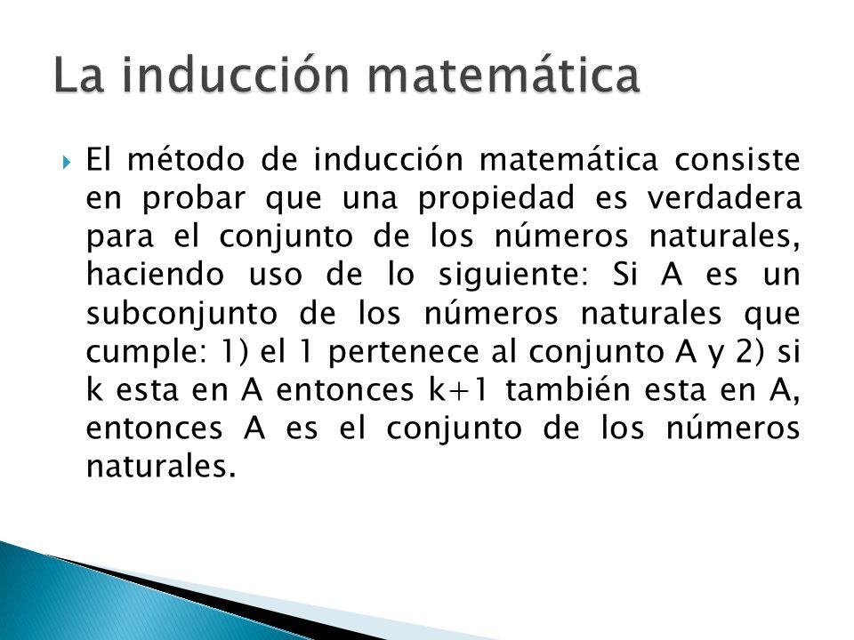 El método de inducción matemática consiste en probar que una propiedad es verdadera para el conjunto de los números naturales, haciendo uso de lo sigu