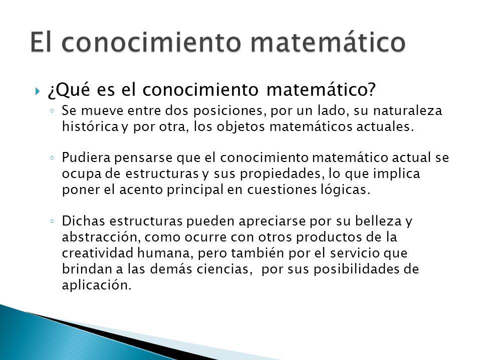 ¿Qué es el conocimiento matemático? Se mueve entre dos posiciones, por un lado, su naturaleza histórica y por otra, los objetos matemáticos actuales.