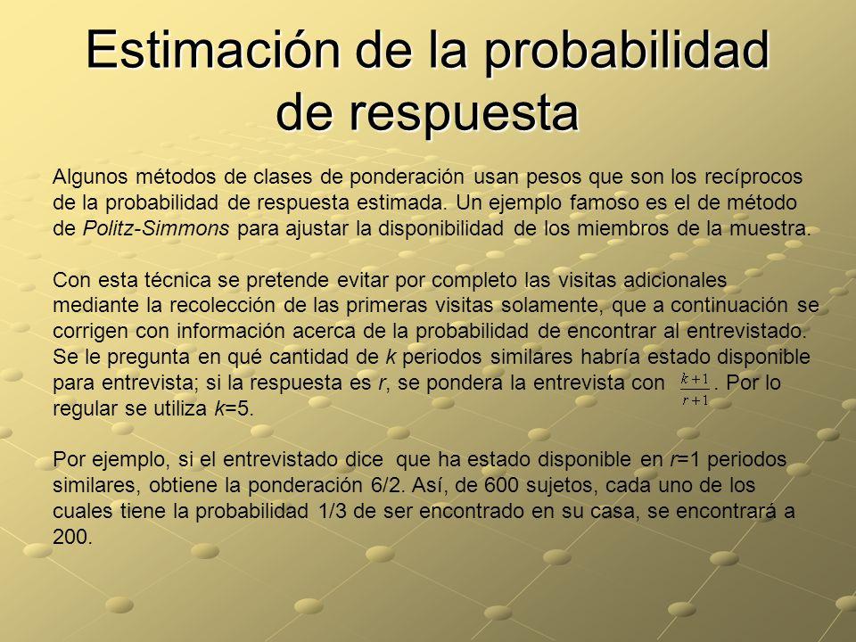Estimación de la probabilidad de respuesta Algunos métodos de clases de ponderación usan pesos que son los recíprocos de la probabilidad de respuesta estimada.