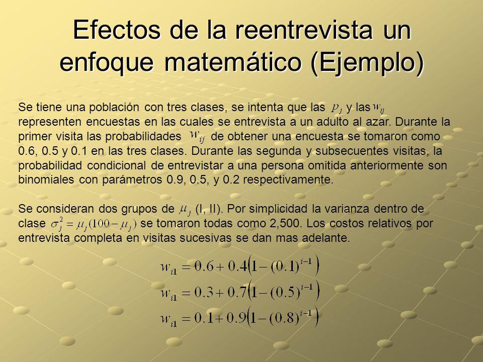 Efectos de la reentrevista un enfoque matemático (Ejemplo) Se tiene una población con tres clases, se intenta que las y las representen encuestas en las cuales se entrevista a un adulto al azar.