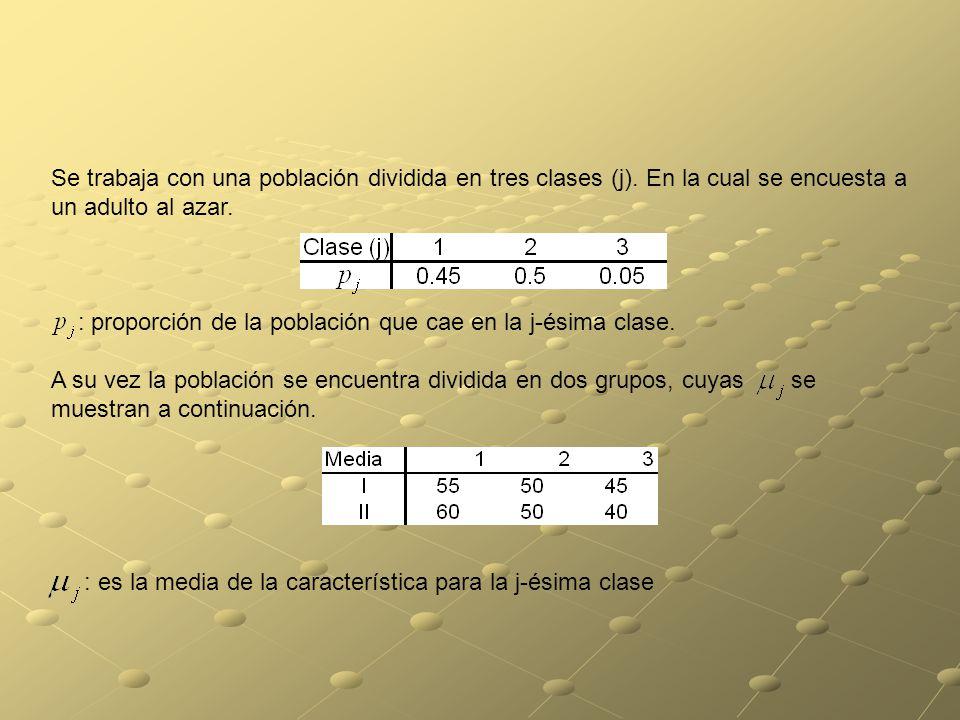 Se trabaja con una población dividida en tres clases (j).
