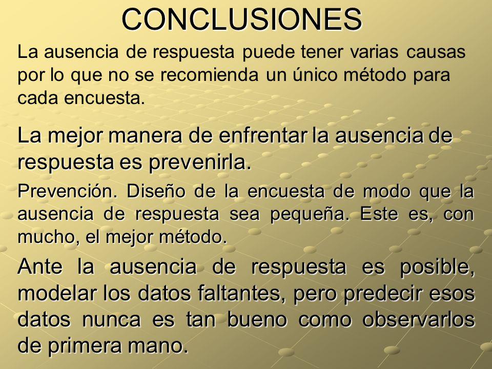 CONCLUSIONES La ausencia de respuesta puede tener varias causas por lo que no se recomienda un único método para cada encuesta.