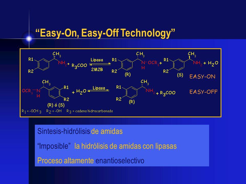 Easy-On, Easy-Off Technology Sintesis-hidrólisis de amidas Imposible la hidrólisis de amidas con lipasas Proceso altamente enantioselectivo