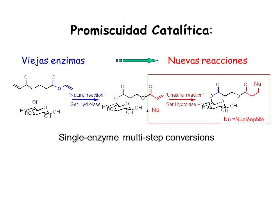 Promiscuidad Catalítica: Nuevas reaccionesViejas enzimas Single-enzyme multi-step conversions Nü Nü =Nucléophile