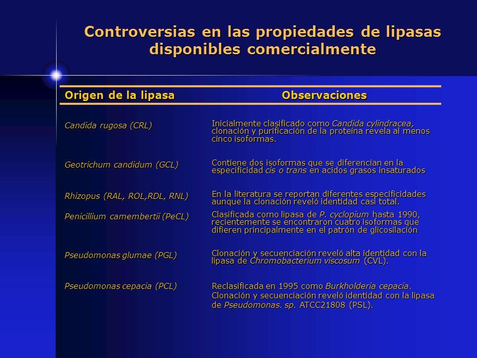 Origen de la lipasa Observaciones Candida rugosa (CRL) Inicialmente clasificado como Candida cylindracea, clonación y purificación de la proteína reve