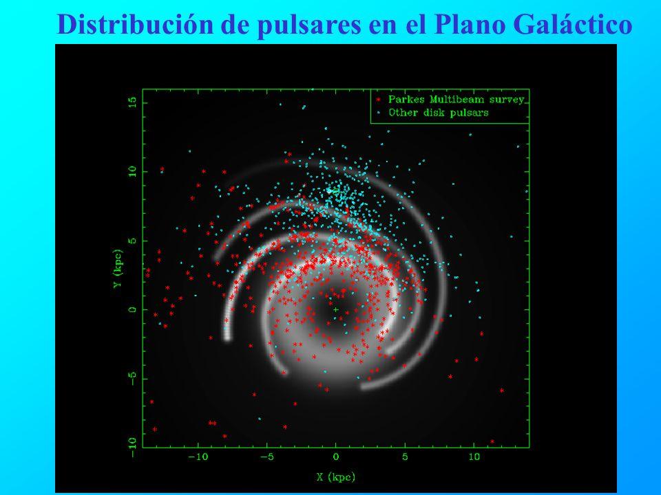 Distribución de pulsares en el Plano Galáctico