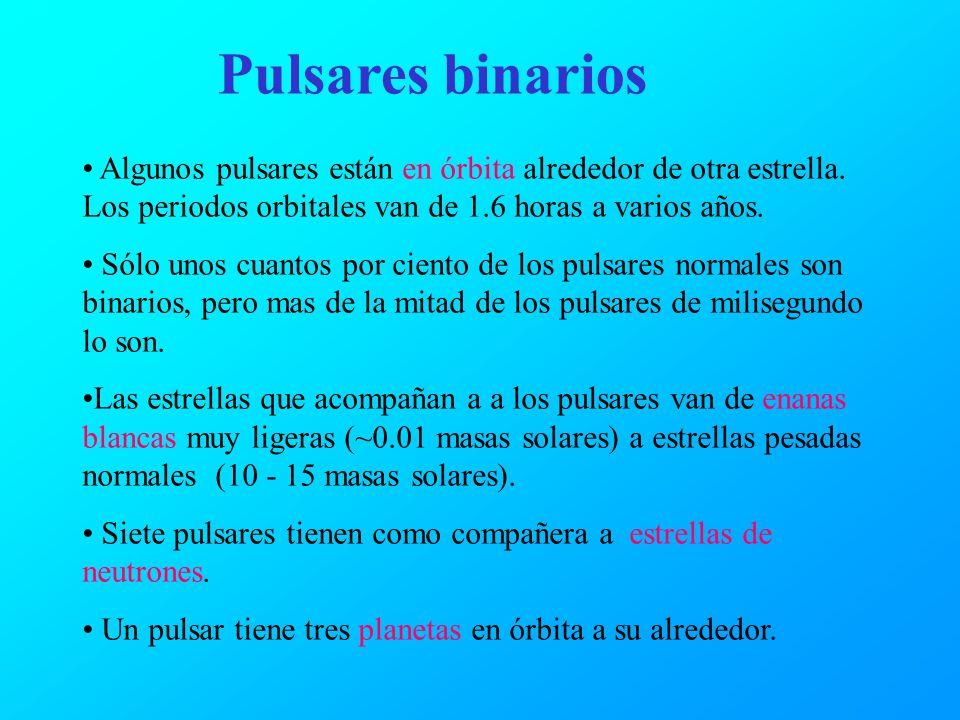 Pulsares binarios Algunos pulsares están en órbita alrededor de otra estrella. Los periodos orbitales van de 1.6 horas a varios años. Sólo unos cuanto