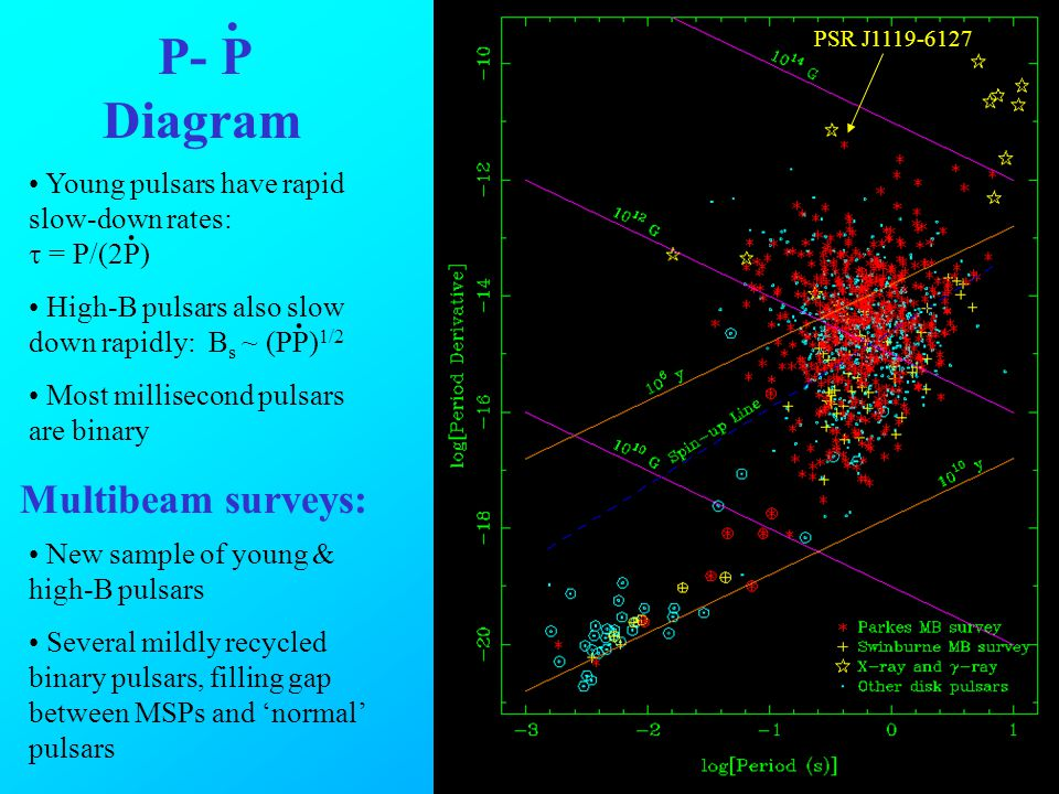 Young pulsars have rapid slow-down rates: = P/(2P) High-B pulsars also slow down rapidly: B s ~ (PP) 1/2 Most millisecond pulsars are binary P- P Diagram...