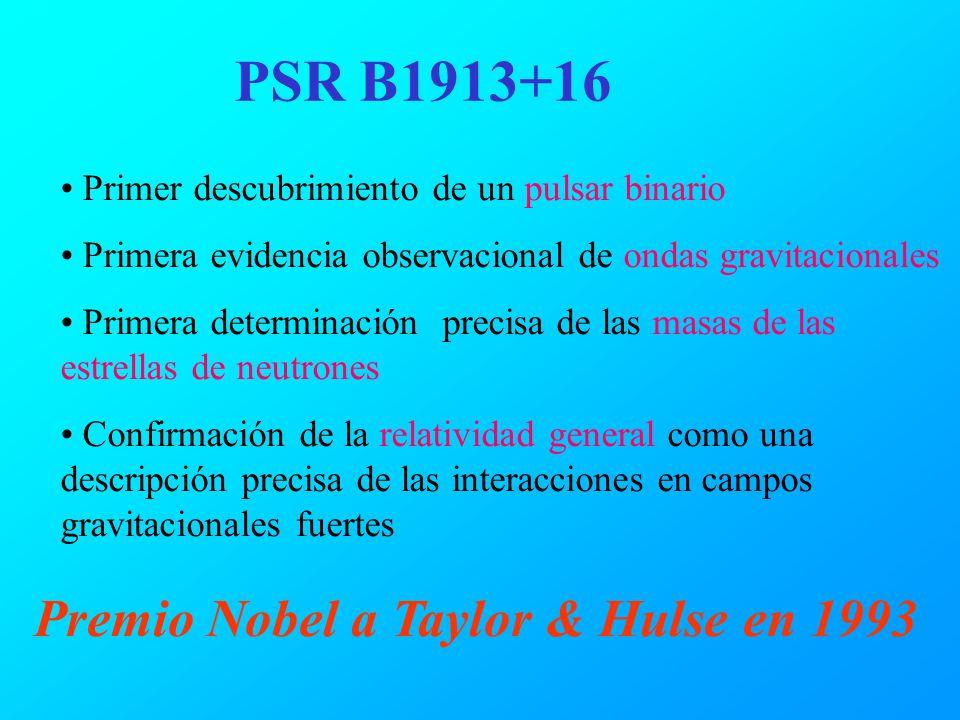 PSR B1913+16 Primer descubrimiento de un pulsar binario Primera evidencia observacional de ondas gravitacionales Primera determinación precisa de las