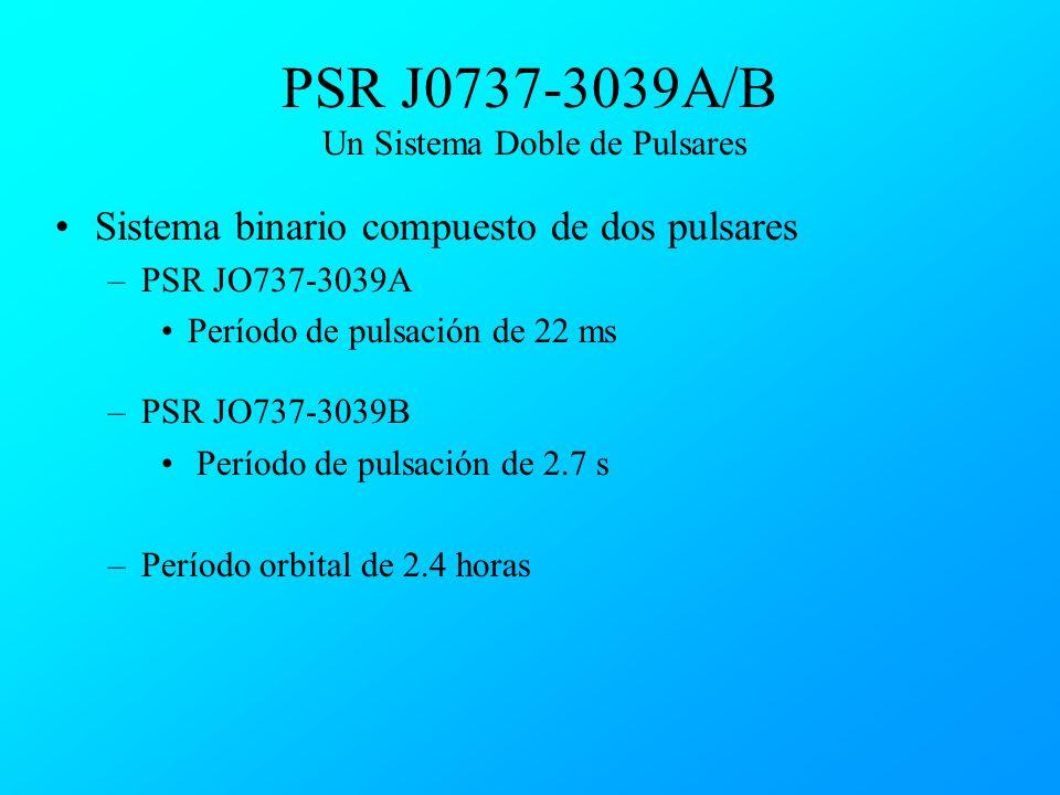 PSR J0737-3039A/B Un Sistema Doble de Pulsares Sistema binario compuesto de dos pulsares –PSR JO737-3039A Período de pulsación de 22 ms –PSR JO737-303