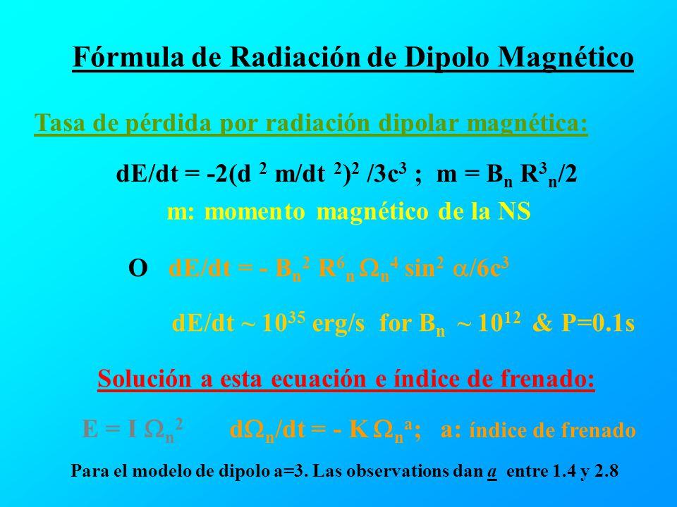 Fórmula de Radiación de Dipolo Magnético Tasa de pérdida por radiación dipolar magnética: dE/dt = -2(d 2 m/dt 2 ) 2 /3c 3 ; m = B n R 3 n /2 m: moment
