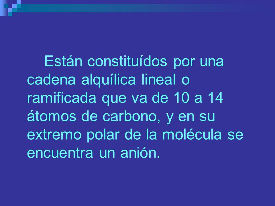 Están constituídos por una cadena alquílica lineal o ramificada que va de 10 a 14 átomos de carbono, y en su extremo polar de la molécula se encuentra