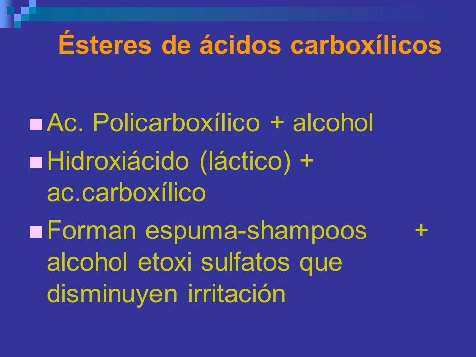 Ésteres de ácidos carboxílicos Ac. Policarboxílico + alcohol Hidroxiácido (láctico) + ac.carboxílico Forman espuma-shampoos + alcohol etoxi sulfatos q