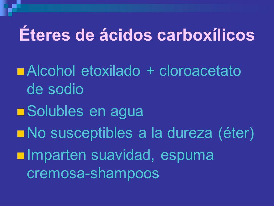 Éteres de ácidos carboxílicos Alcohol etoxilado + cloroacetato de sodio Solubles en agua No susceptibles a la dureza (éter) Imparten suavidad, espuma