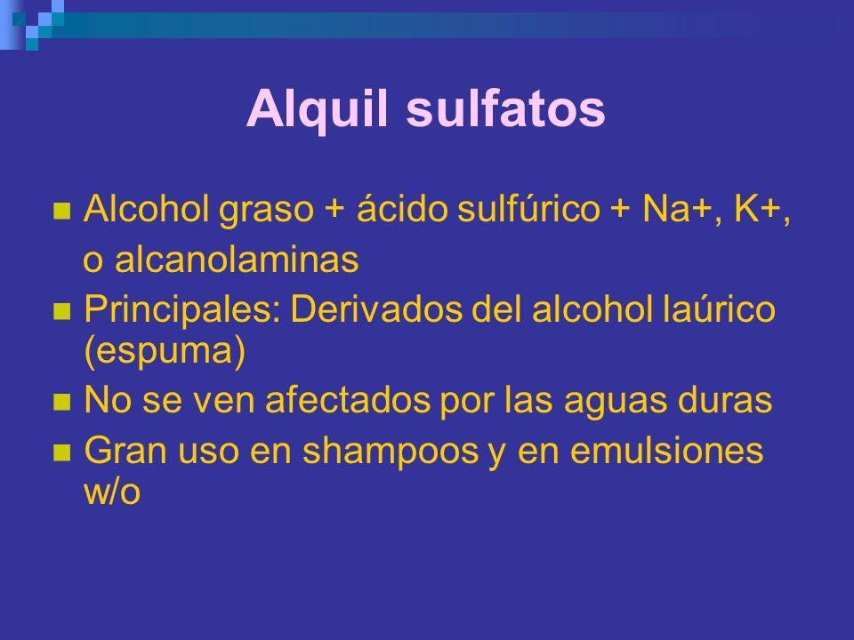Alquil sulfatos Alcohol graso + ácido sulfúrico + Na+, K+, o alcanolaminas Principales: Derivados del alcohol laúrico (espuma) No se ven afectados por