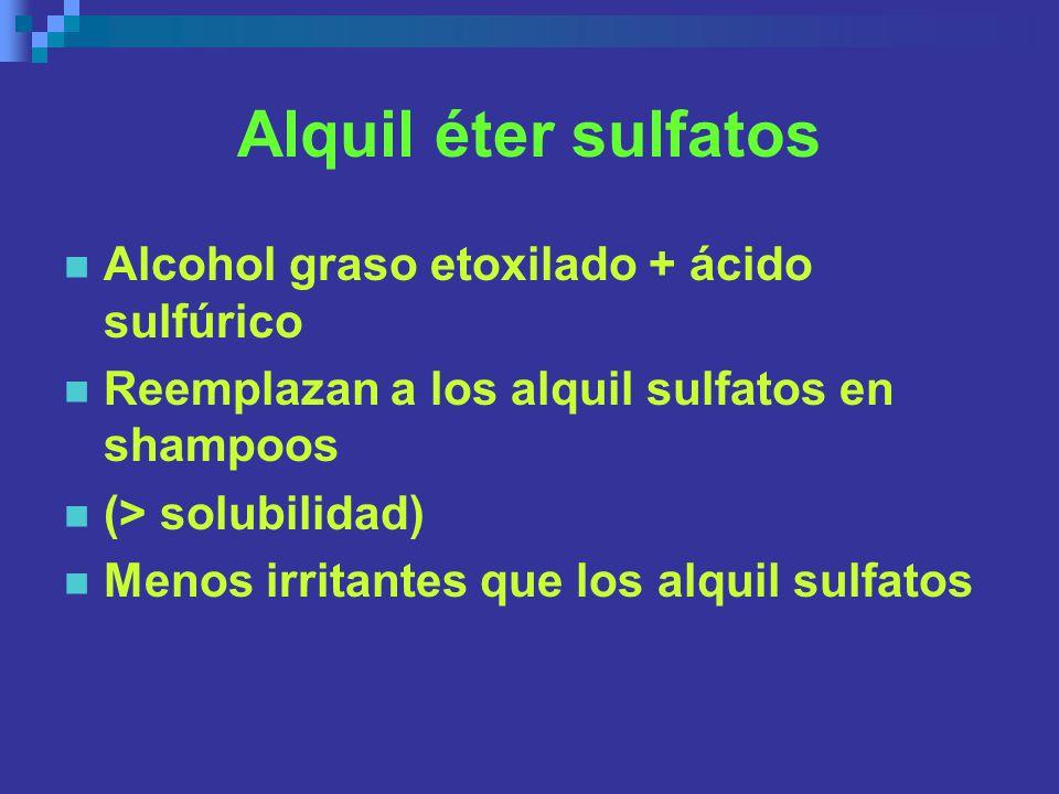 Alquil éter sulfatos Alcohol graso etoxilado + ácido sulfúrico Reemplazan a los alquil sulfatos en shampoos (> solubilidad) Menos irritantes que los a