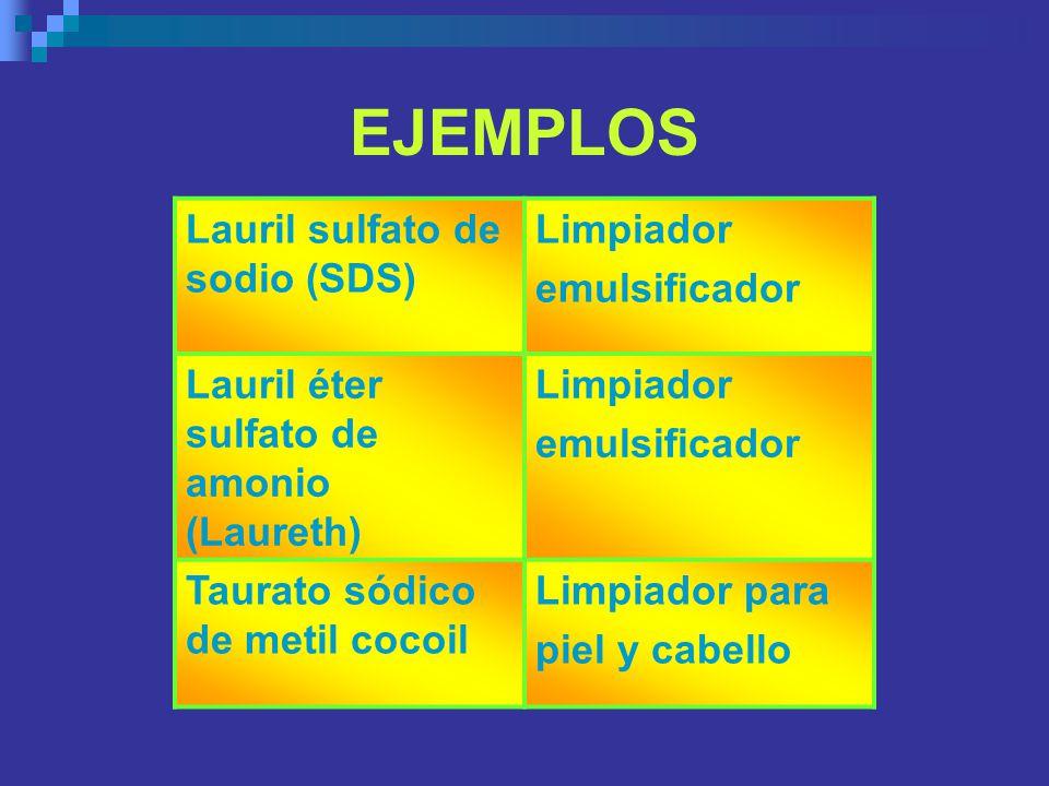 Lauril sulfato de sodio (SDS) Limpiador emulsificador Lauril éter sulfato de amonio (Laureth) Limpiador emulsificador Taurato sódico de metil cocoil L