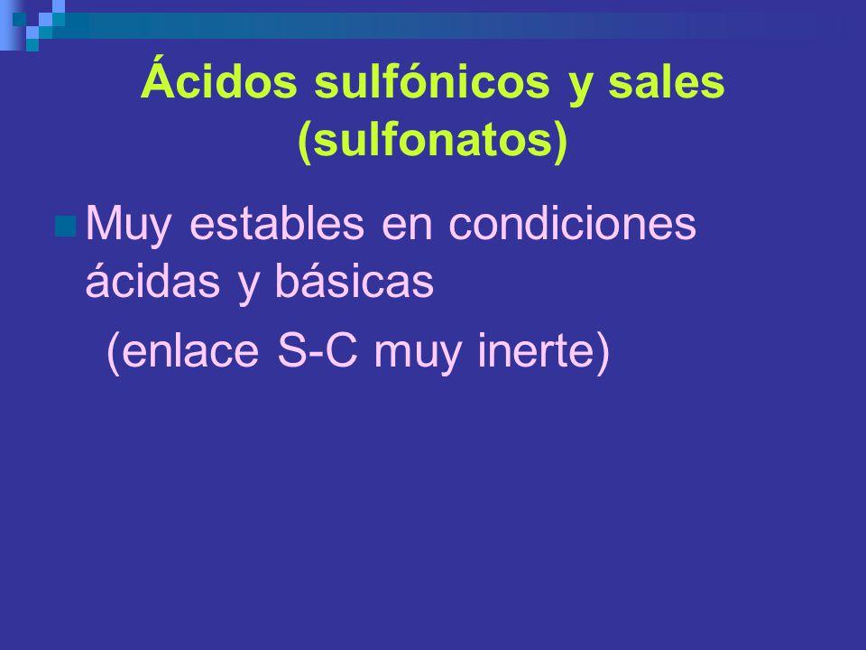 Ácidos sulfónicos y sales (sulfonatos) Muy estables en condiciones ácidas y básicas (enlace S-C muy inerte)
