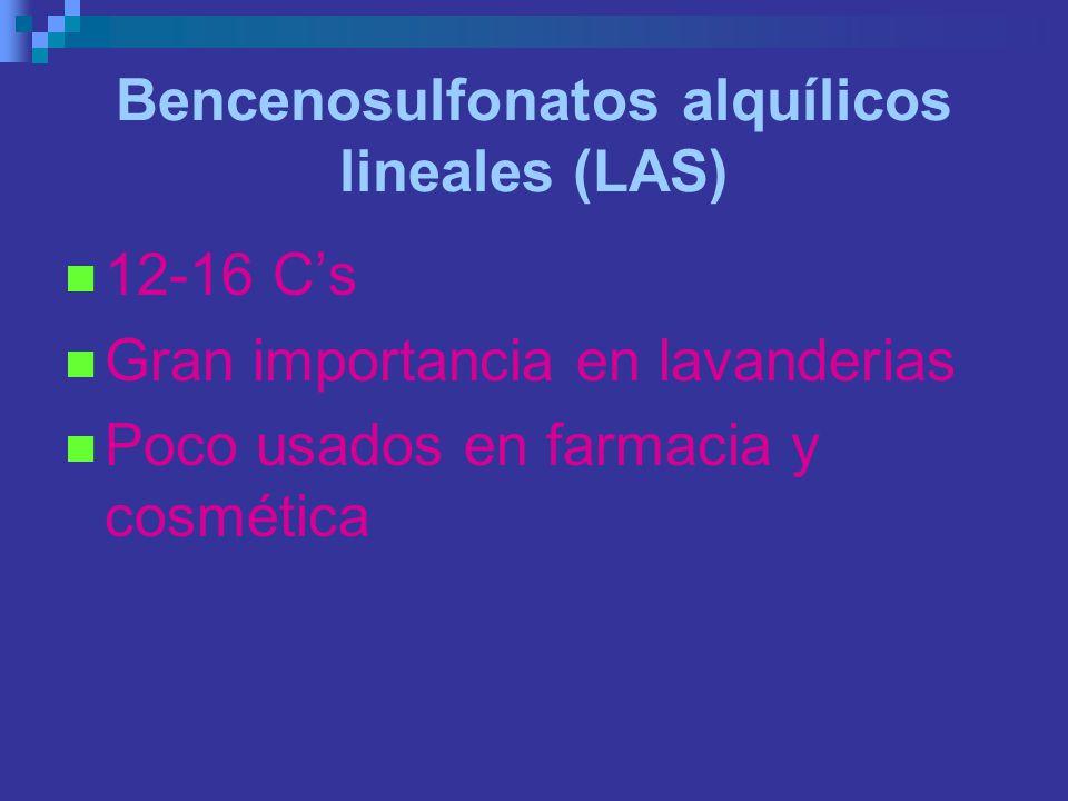 Bencenosulfonatos alquílicos lineales (LAS) 12-16 Cs Gran importancia en lavanderias Poco usados en farmacia y cosmética