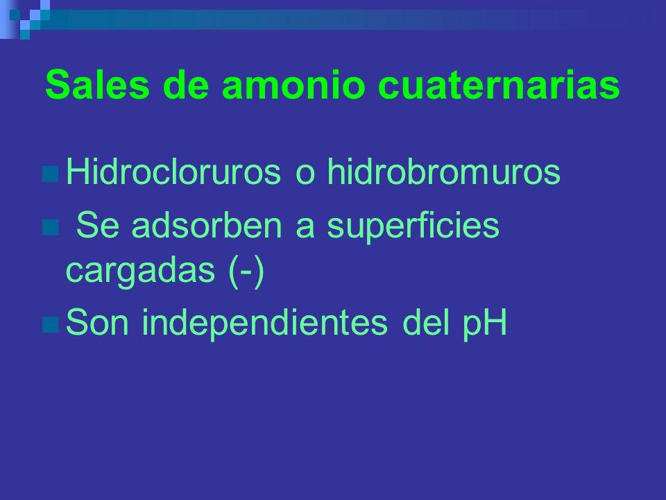 Sales de amonio cuaternarias Hidrocloruros o hidrobromuros Se adsorben a superficies cargadas (-) Son independientes del pH
