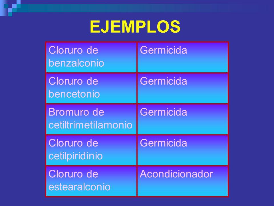 EJEMPLOS Cloruro de benzalconio Germicida Cloruro de bencetonio Germicida Bromuro de cetiltrimetilamonio Germicida Cloruro de cetilpiridinio Germicida