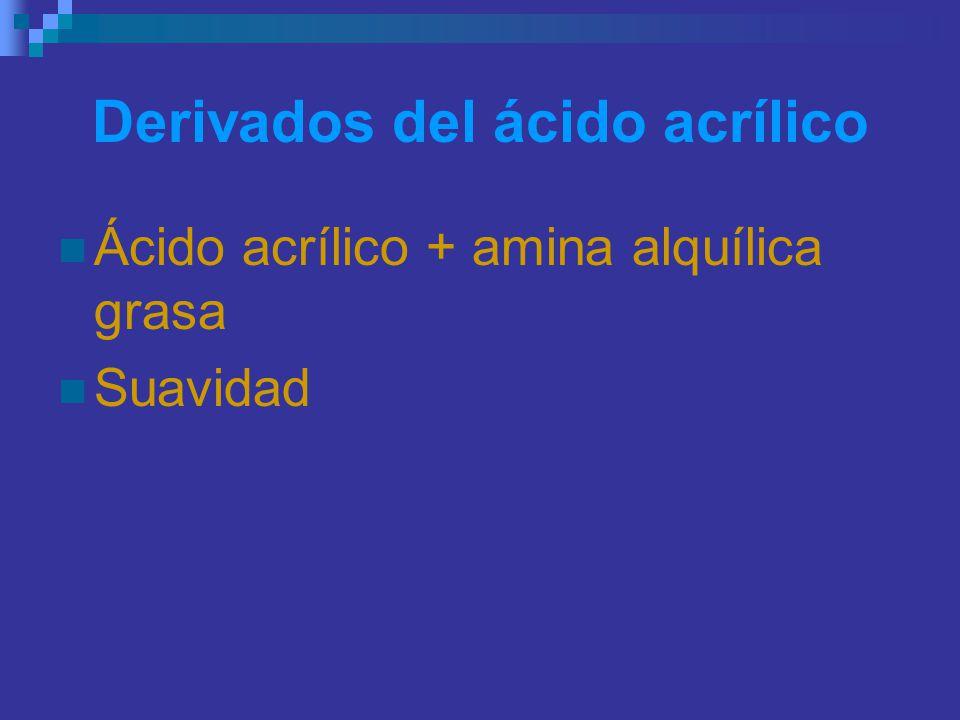 Derivados del ácido acrílico Ácido acrílico + amina alquílica grasa Suavidad