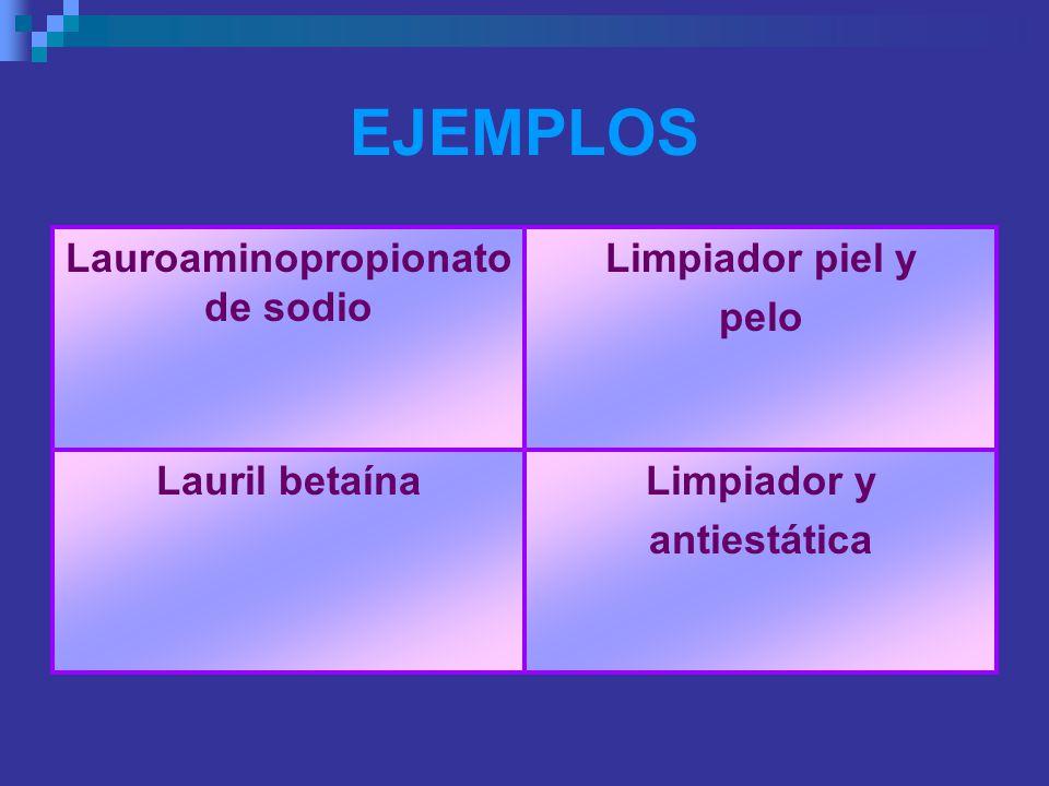 EJEMPLOS Lauroaminopropionato de sodio Limpiador piel y pelo Lauril betaína Limpiador y antiestática