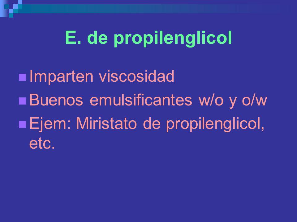 E. de propilenglicol Imparten viscosidad Buenos emulsificantes w/o y o/w Ejem: Miristato de propilenglicol, etc.