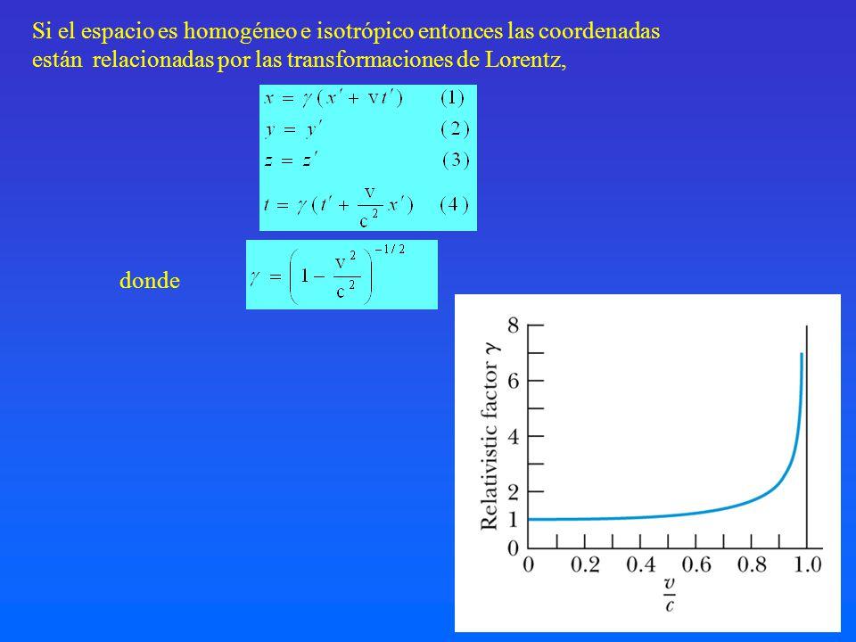 Si el espacio es homogéneo e isotrópico entonces las coordenadas están relacionadas por las transformaciones de Lorentz, donde