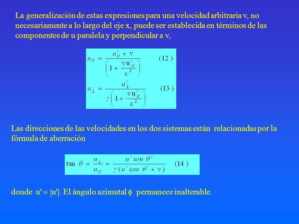 Las direcciones de las velocidades en los dos sistemas están relacionadas por la fórmula de aberración La generalización de estas expresiones para una
