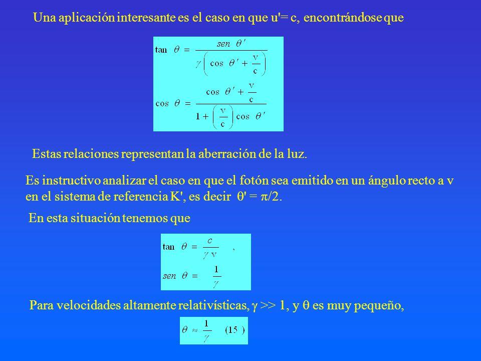 Es instructivo analizar el caso en que el fotón sea emitido en un ángulo recto a v en el sistema de referencia K', es decir ' = /2. Una aplicación int