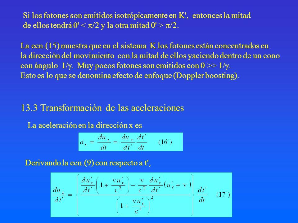 Si los fotones son emitidos isotrópicamente en K', entonces la mitad de ellos tendrá ' /2. 13.3 Transformación de las aceleraciones La aceleración en