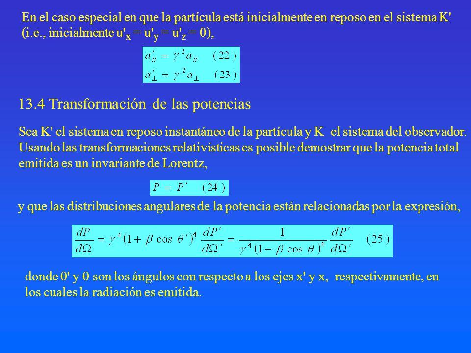 En el caso especial en que la partícula está inicialmente en reposo en el sistema K' (i.e., inicialmente u' x = u' y = u' z = 0), y que las distribuci