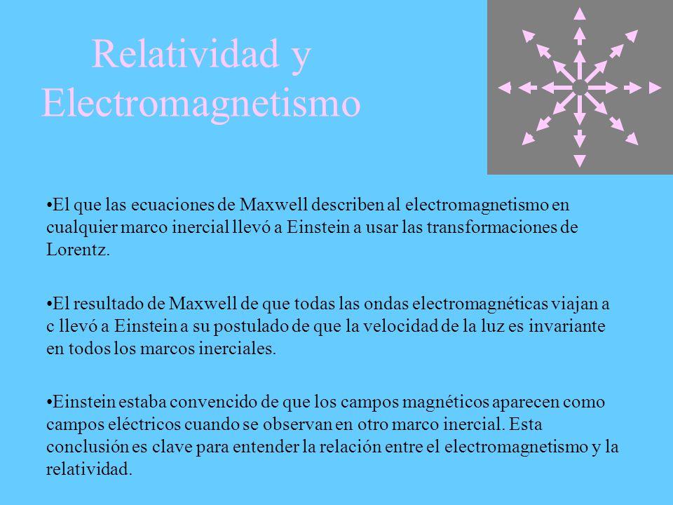 Relatividad y Electromagnetismo El que las ecuaciones de Maxwell describen al electromagnetismo en cualquier marco inercial llevó a Einstein a usar la