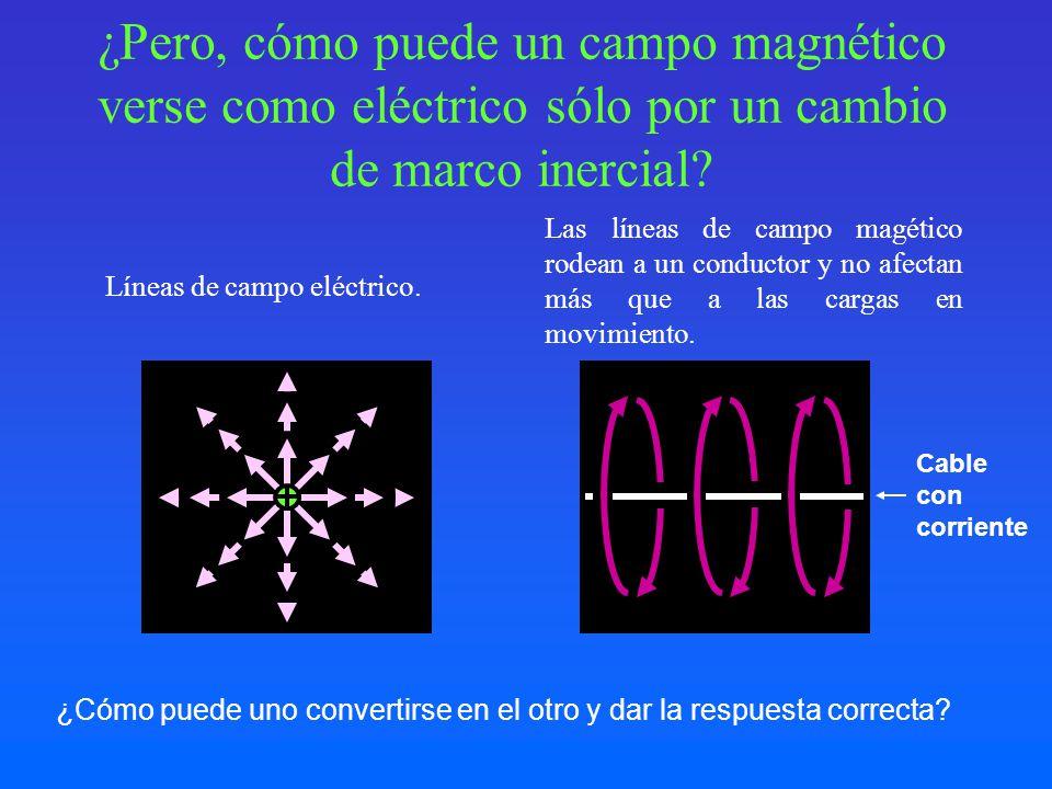 ¿Pero, cómo puede un campo magnético verse como eléctrico sólo por un cambio de marco inercial? Líneas de campo eléctrico. Las líneas de campo magétic