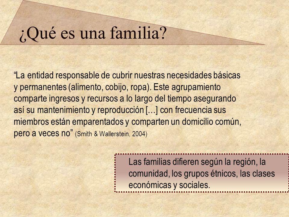 ¿Qué es una familia? La entidad responsable de cubrir nuestras necesidades básicas y permanentes (alimento, cobijo, ropa). Este agrupamiento comparte
