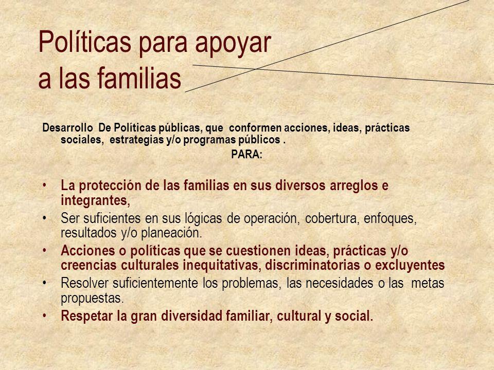 Políticas para apoyar a las familias Desarrollo De Políticas públicas, que conformen acciones, ideas, prácticas sociales, estrategias y/o programas pú