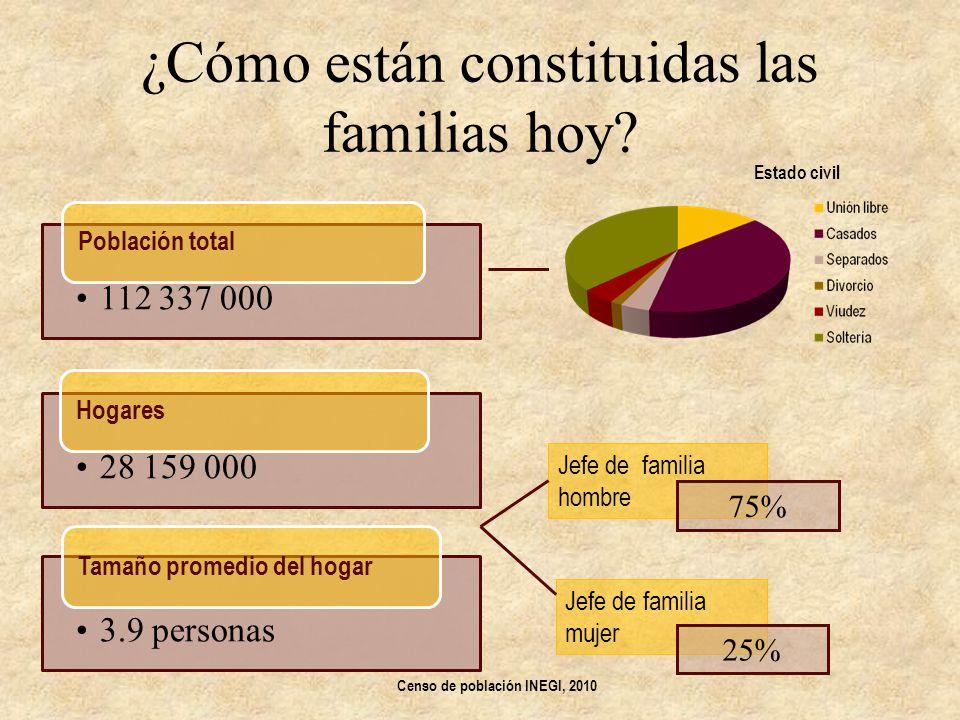 ¿Cómo están constituidas las familias hoy? 112 337 000 Población total 28 159 000 Hogares 3.9 personas Tamaño promedio del hogar Jefe de familia hombr